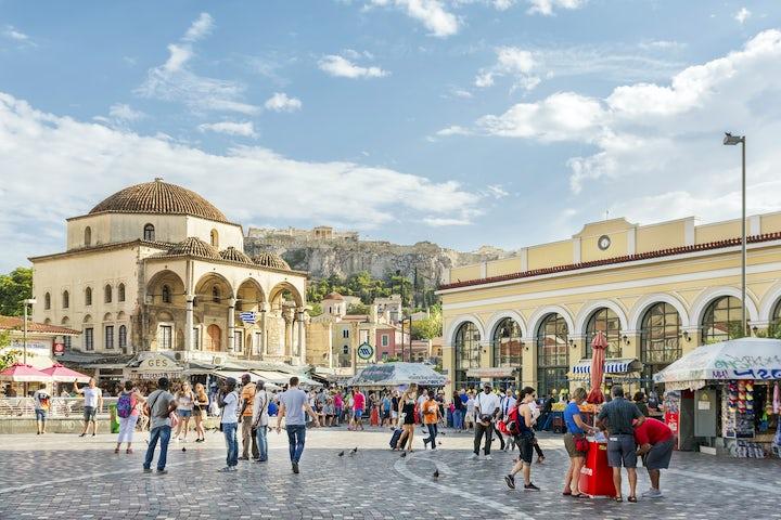 Shopping in Monastiraki Square of Athens