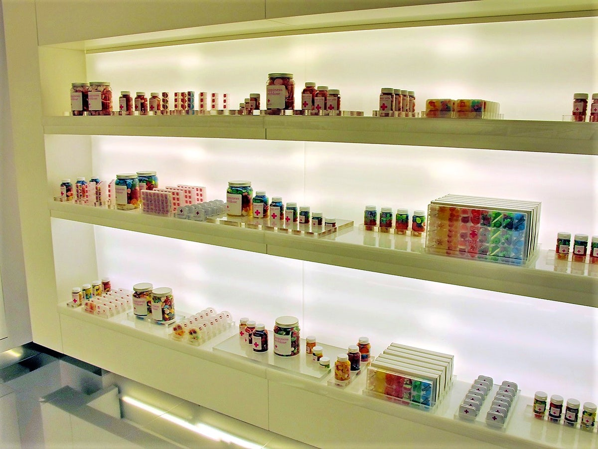 A candy store shaped like a pharmacy in Barcelona