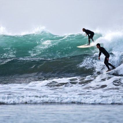 Surfing in the Arctic circle in Lofoten