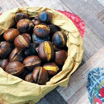 Maroon coloured Vienna: chestnuts season