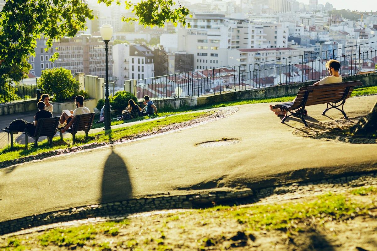 Chilling in the Gardens of center Lisbon
